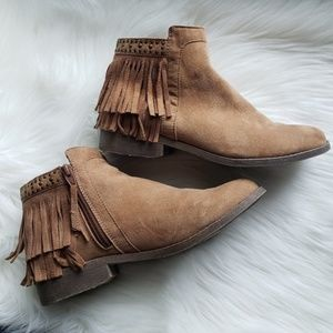 Mossimo Cognac Faux Suede Fringe Ankle Booties